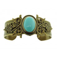 Vintage Style Turquoise Oval Cuff