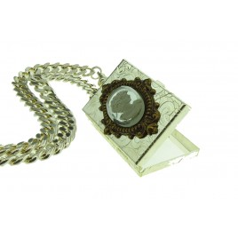 Book Locket Cameo Necklace