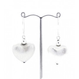 Brushed Heart Sterling Silver Earrings